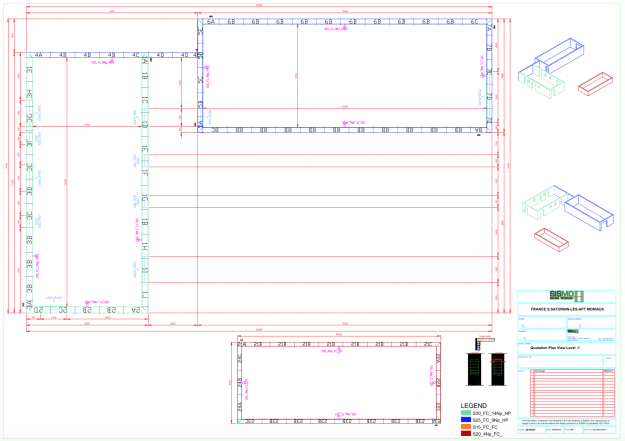 Panneau de coffrage sur mesure - Plan d'exécution vue 2D