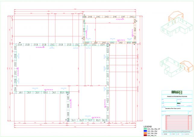 autoconstruction maison: plan d'exécution vue 2D