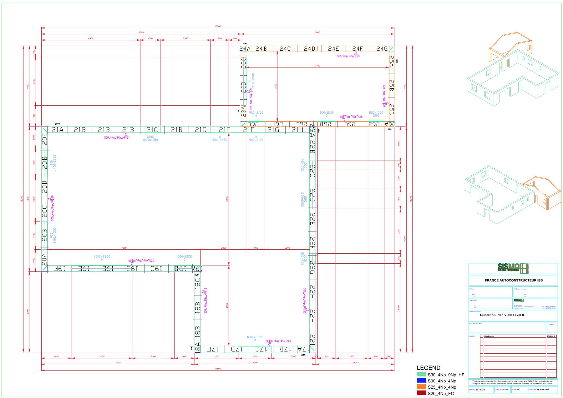bloc isolant - plan d'exécution 2D