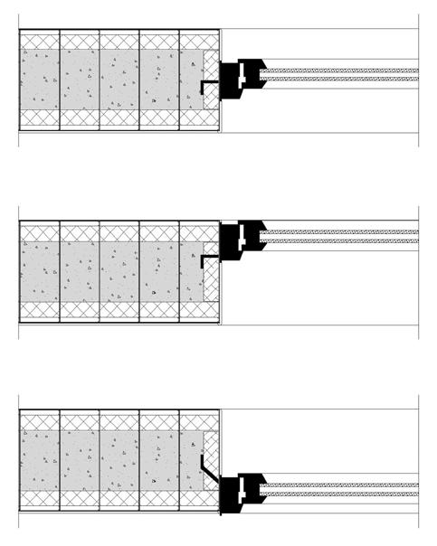Coupe horizontale : fenêtre dans l'épaisseur, à l'intérieur et à l'extérieur du mur